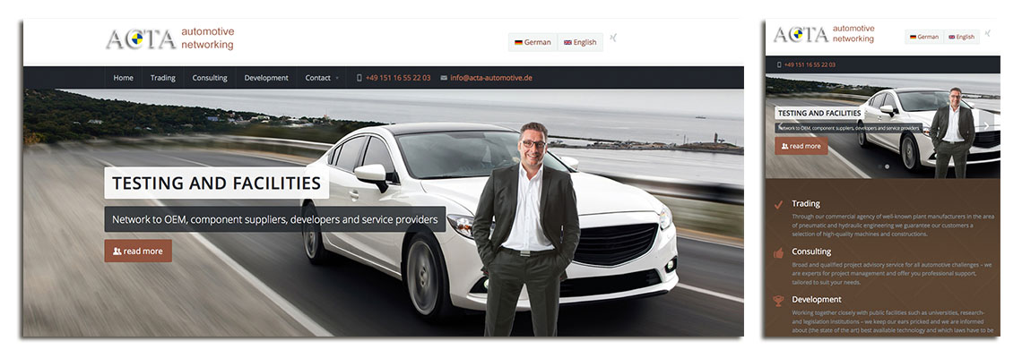 Website von Acta Automotive